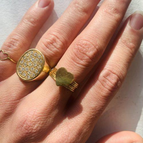 Bague semainier cœur or, Nynybird Créatrice de bijoux